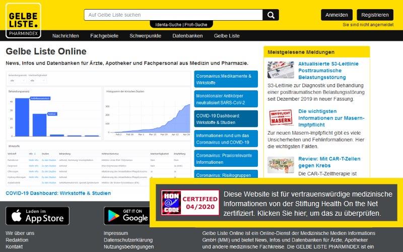Gelbe Liste Online mit HON-Zertifikat